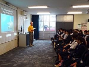 海ガメの生態の講義を受講
